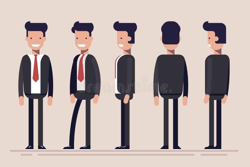 商人或经理从不同的边 男性收养前面,后方,侧视图  在动画片的平的传染媒介例证 向量例证