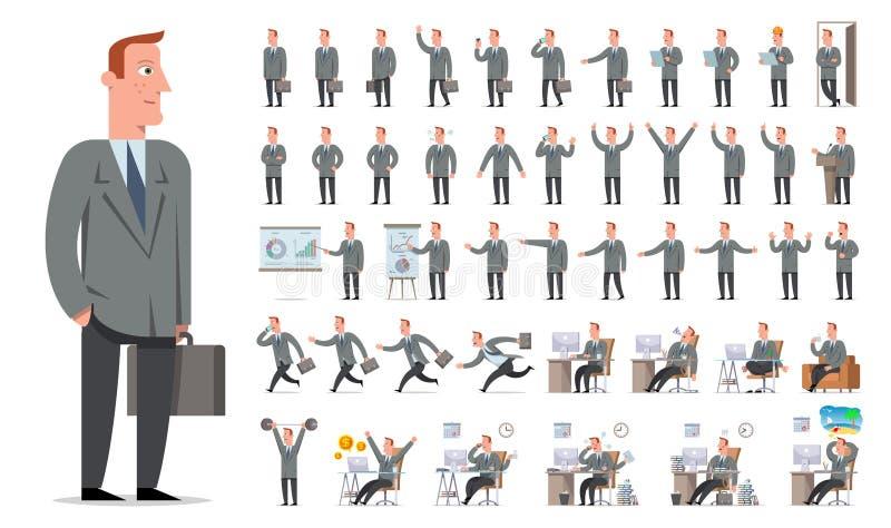 商人或经理字符创作大集合 不同竞争 库存例证