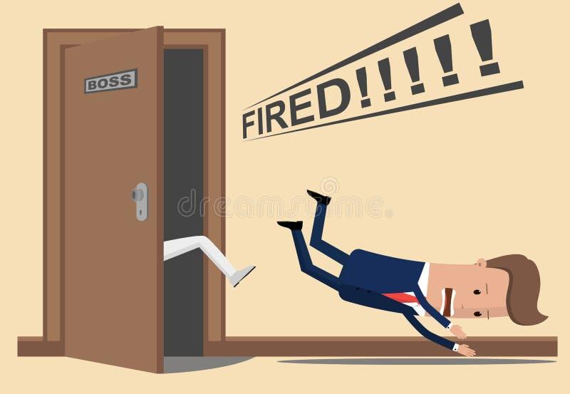 商人或经理投掷反撞力在上司的办公室外面 上司遣散员工 被射击的生意人 向量例证