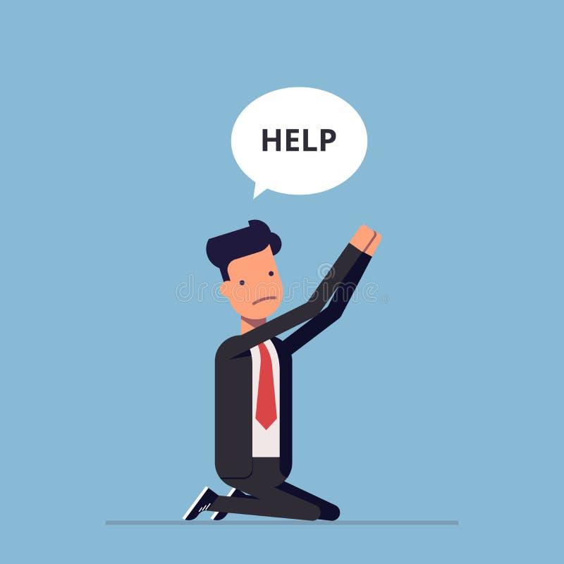 商人或经理是在他的膝盖并且请求帮忙 西装祈祷的人 传染媒介,例证EPS10 向量例证