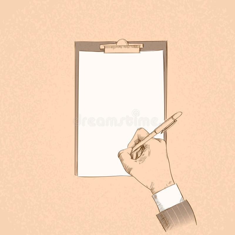 商人手举行笔写报名参加合同 皇族释放例证
