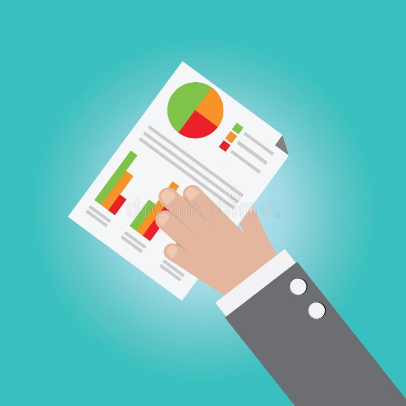商人手传染媒介有经营分析的 向量例证