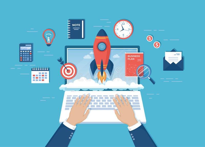 商人手发射从膝上型计算机屏幕的火箭 企业项目起动,财政规划,想法,战略,管理 皇族释放例证