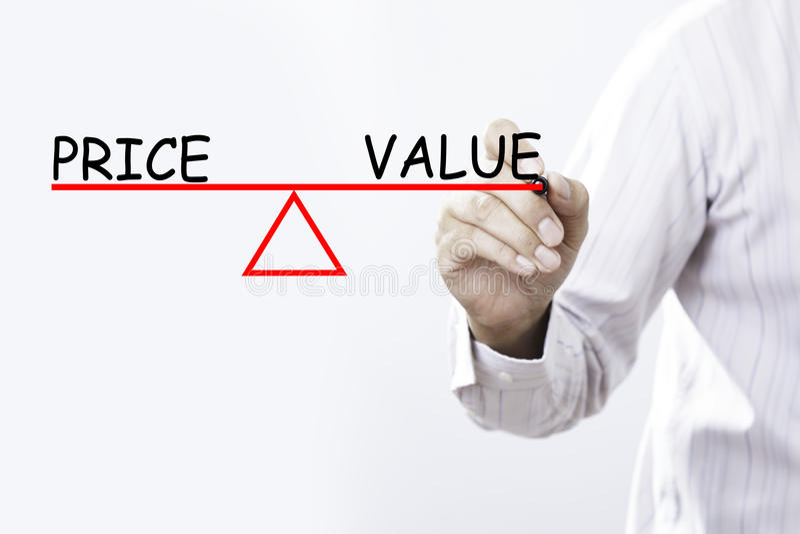商人手图画价格和价值平衡-浓缩的事务 免版税库存照片