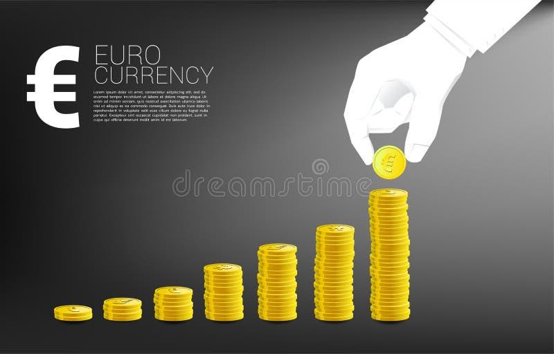 商人手堆硬币欧元货币和好企业图背景 向量例证