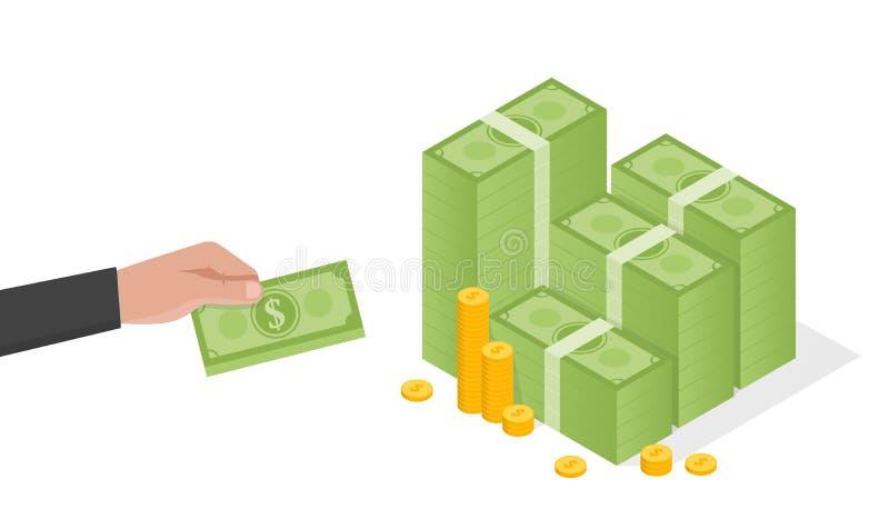 商人手拿着堆绿色美元金钱传染媒介例证 向量例证