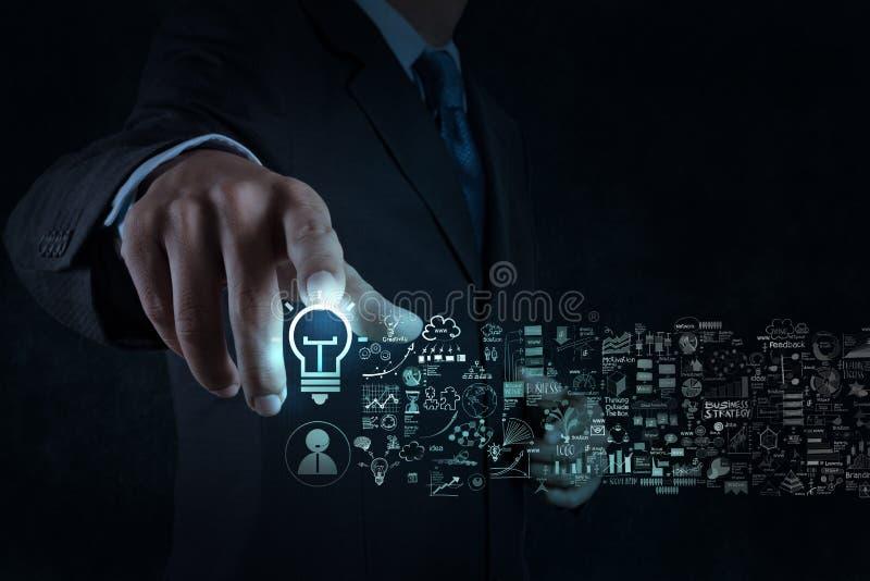 商人手接触电灯泡标志和经营战略 免版税图库摄影