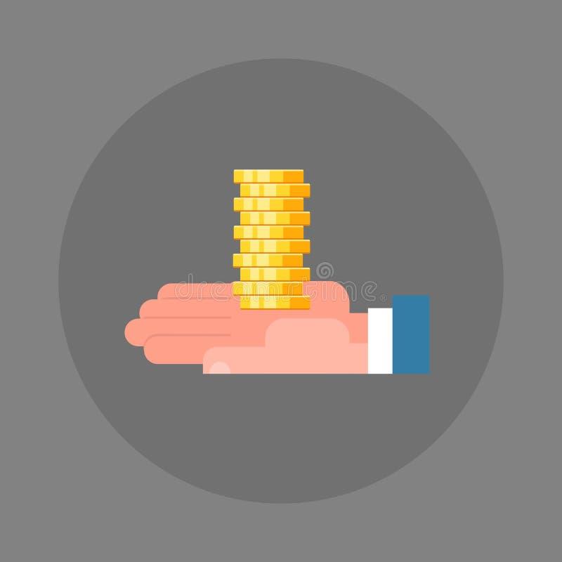 商人手藏品堆硬币象储款和财富概念 库存例证
