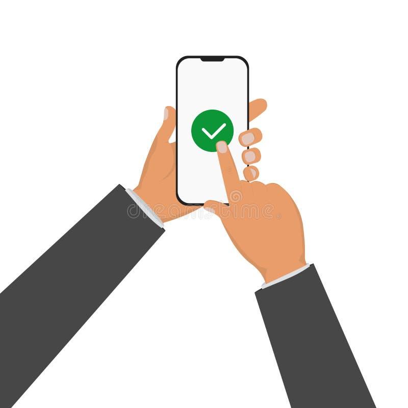 商人手藏品智能手机和手指接触 皇族释放例证