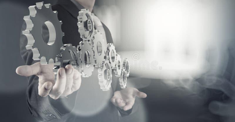 商人手画齿轮对成功 免版税库存图片
