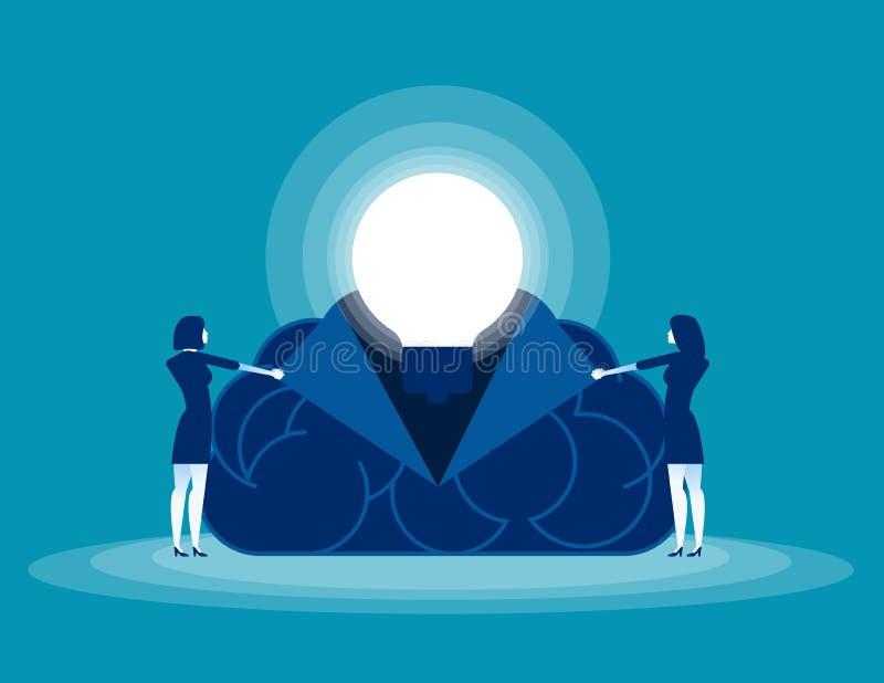 商人打开您的头脑 概念企业传染媒介例证,脑子,想法 库存例证