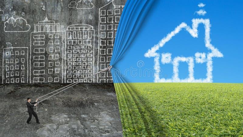 商人拉扯房子形状云彩帷幕盖了肮脏的citysca 向量例证