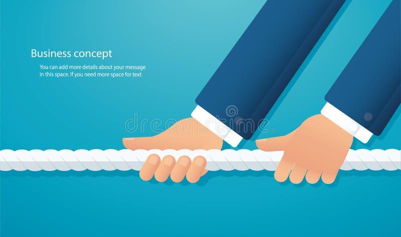 商人拉扯绳索企业概念 拔河背景 向量例证