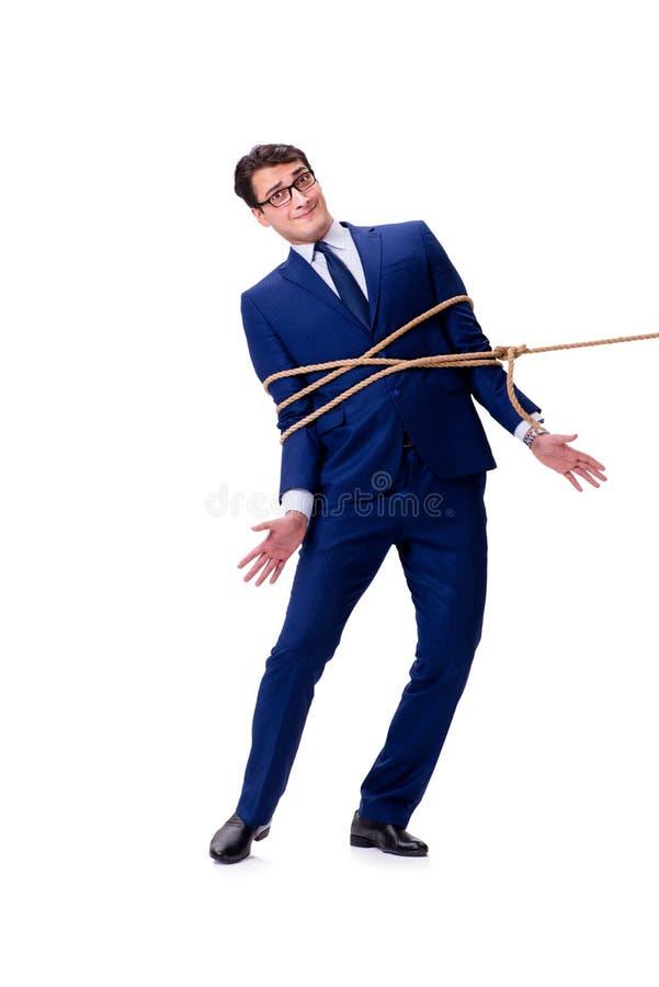 商人捉住了与在白色隔绝的绳索套索 图库摄影