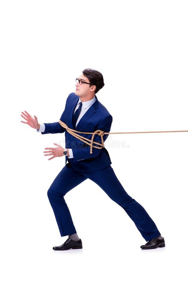 商人捉住了与在白色隔绝的绳索套索 免版税库存照片