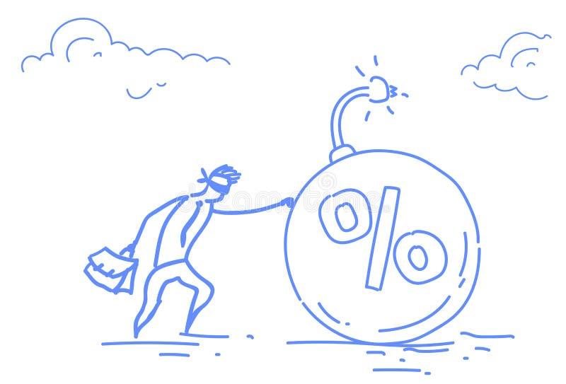 商人推挤百分之债务炸弹企业危机概念水平的剪影的闭上的眼睛乱画 皇族释放例证