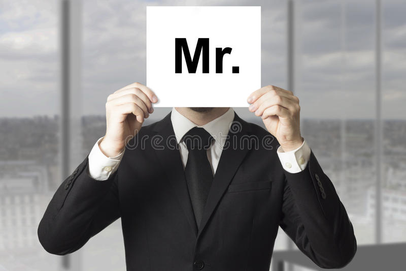 商人掩藏的面孔标志先生 免版税图库摄影
