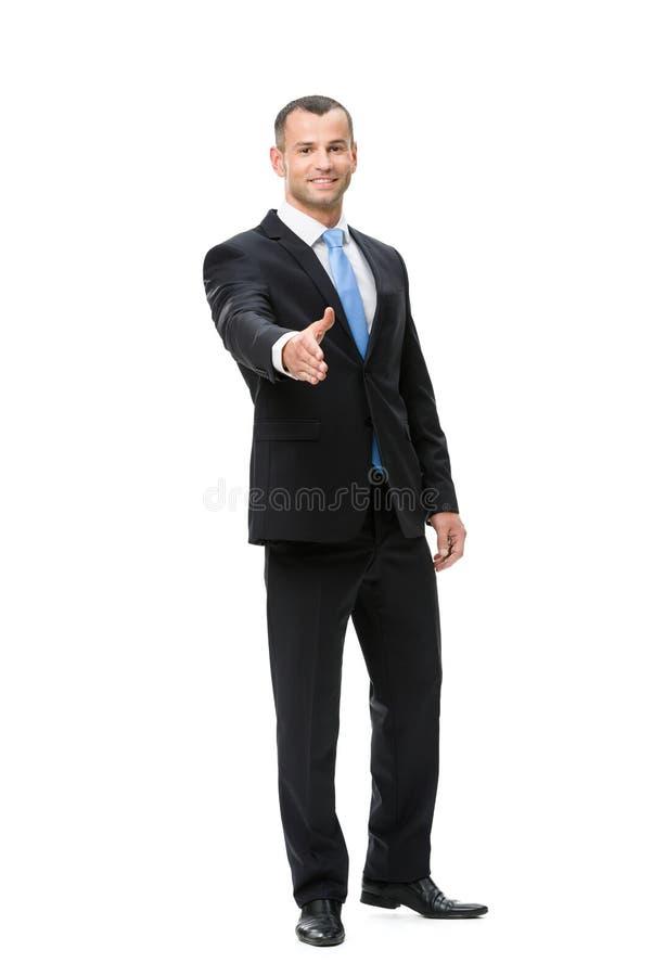 商人握手全长画象  免版税库存图片
