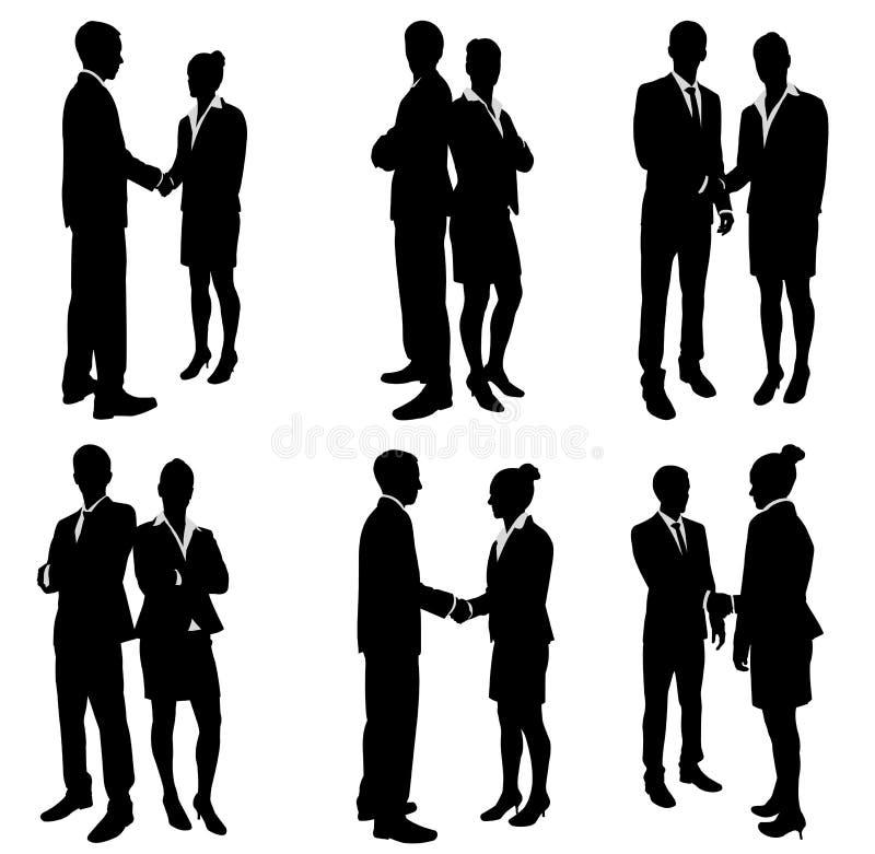 商人握手剪影 库存例证
