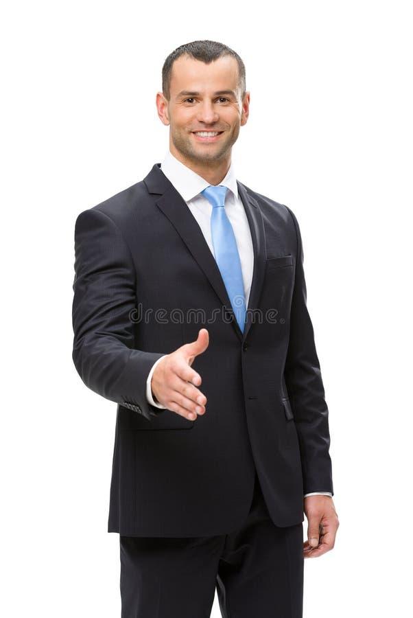 商人握手半身画象  免版税库存照片