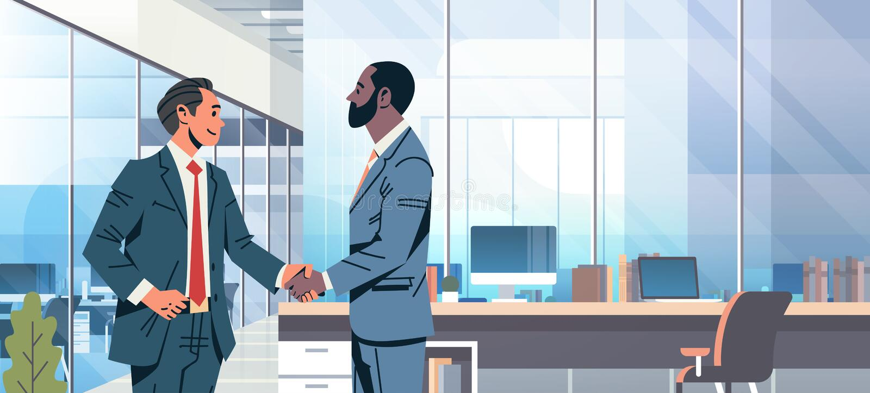 商人握手协议概念混合种族商人合作通信现代办公室内部男性 库存例证