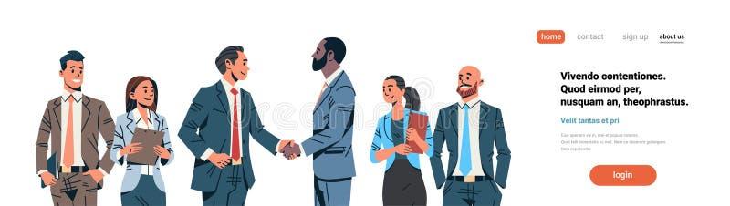 商人握手协议概念混合种族商人组长国际合作通信 向量例证