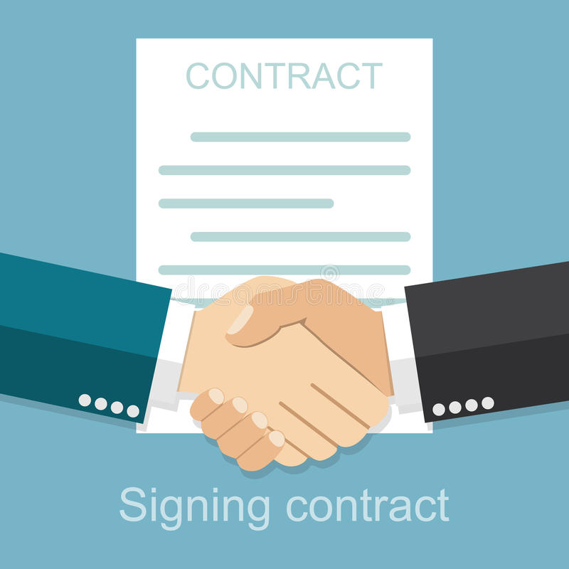 商人握手合同的背景的 向量例证