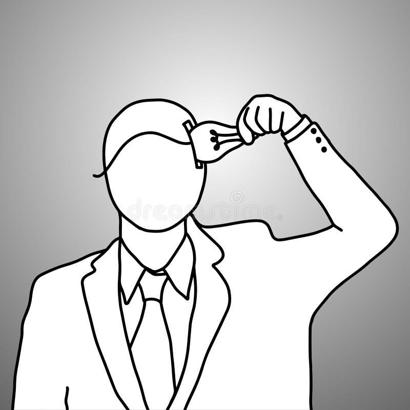 商人放想法入他的顶头传染媒介例证 向量例证