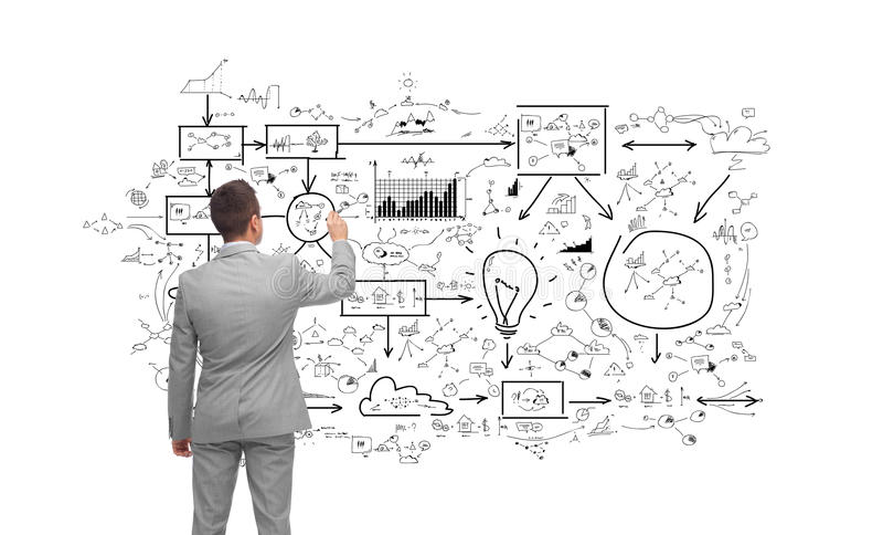 商人文字或图画企业计划 免版税库存照片