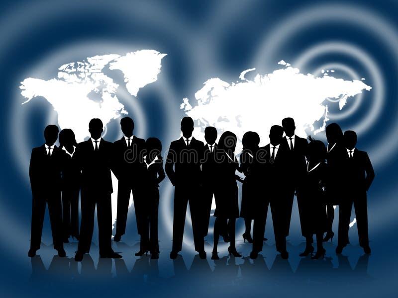 商人显示专业商务和配合 向量例证