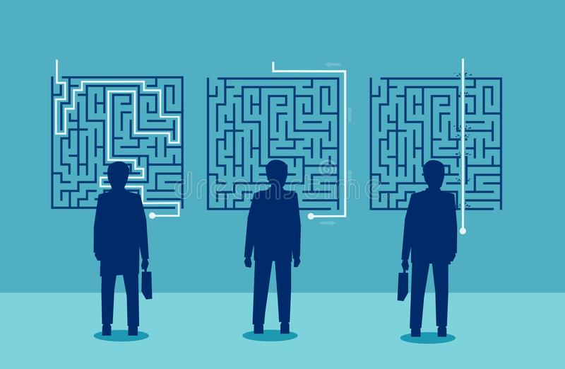 商人有一个富挑战性迷宫的一种不同的解答 库存例证