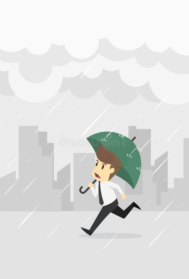 商人有伞连续水滴雨云,年轻动画片非常失败概念是人字符的商人 看法emot 库存例证