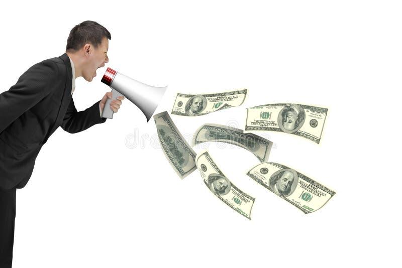 商人有喷洒的美金的举行扩音机  免版税库存照片