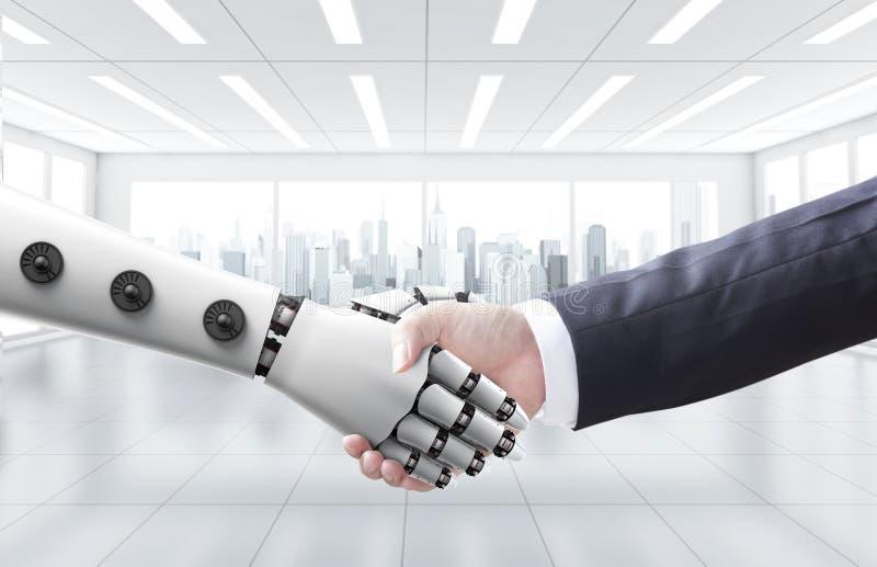 商人有机器或机器人的震动手 库存照片