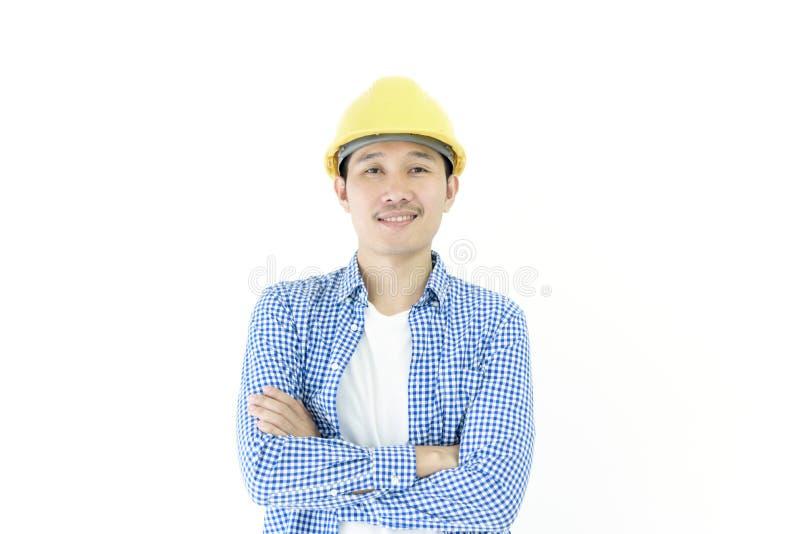 商人有被隔绝的蓝色斯科特衬衣的工程师雇员  库存图片