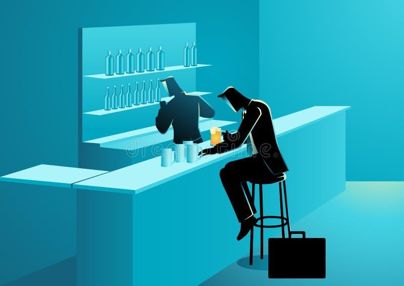 商人有饮料在酒吧 库存例证