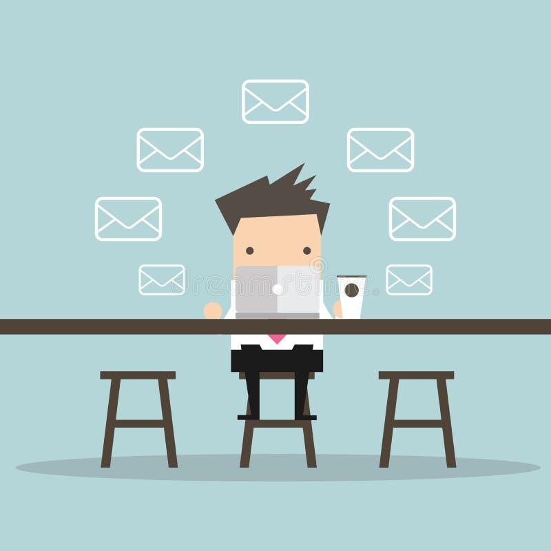 商人检查电子邮件在咖啡店 库存例证