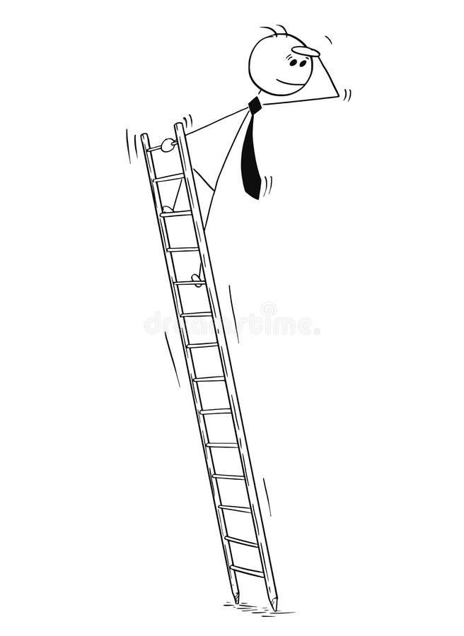 商人概念性动画片今后看的梯子的 皇族释放例证