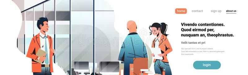 商人沟通的概念现代coworking的办公室内部创造性的工作场所男女漫画人物 向量例证