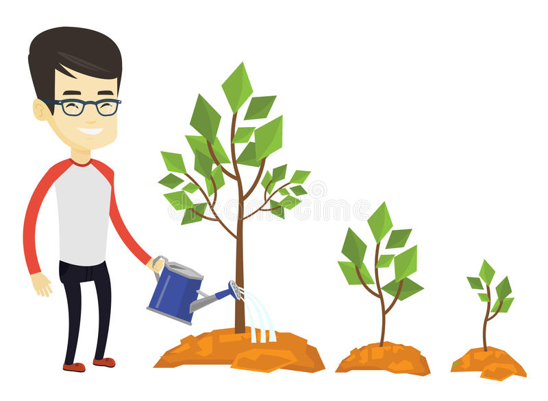商人浇灌的树传染媒介例证 库存例证