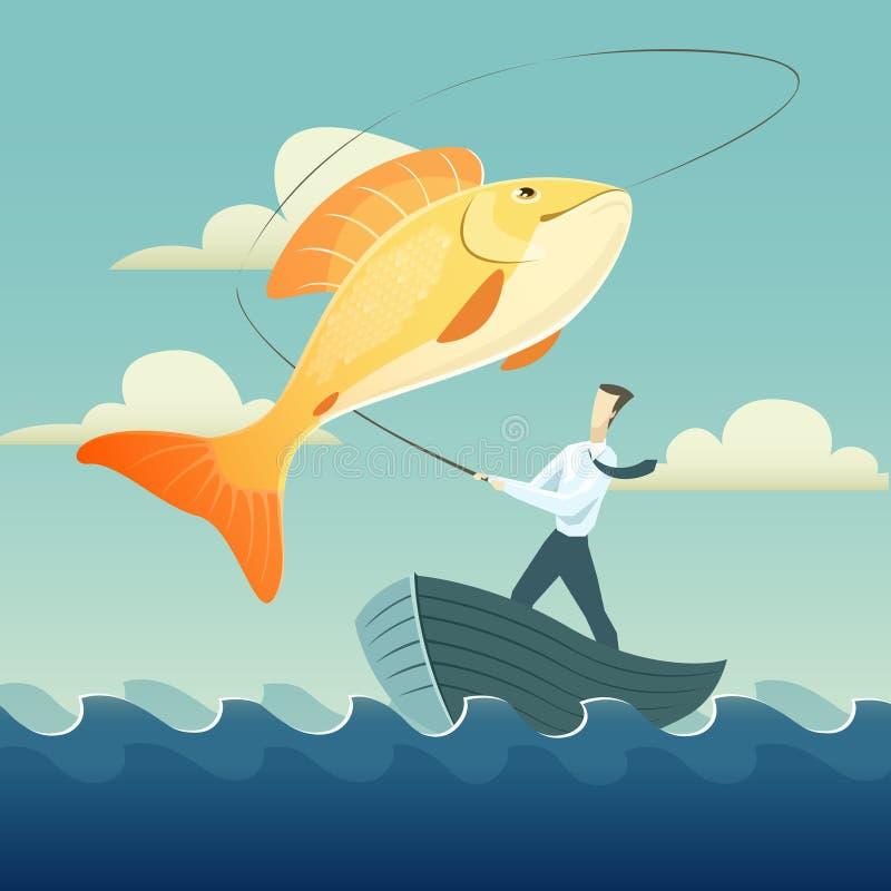 商人渔金鱼的传染媒介例证 库存例证