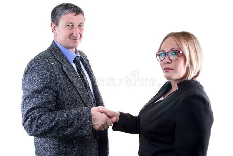商人照片和妇女-递震动 免版税图库摄影