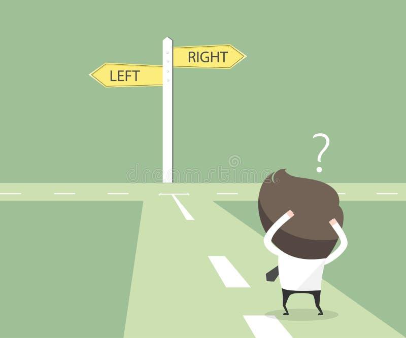 商人犹豫选择道路 决定概念 向量例证