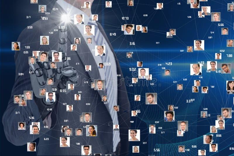 商人用互动在屏幕的机器人手与飞行画象 库存照片