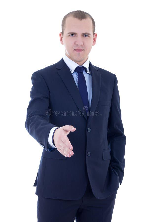商人用手延伸到在白色隔绝的握手 免版税库存照片