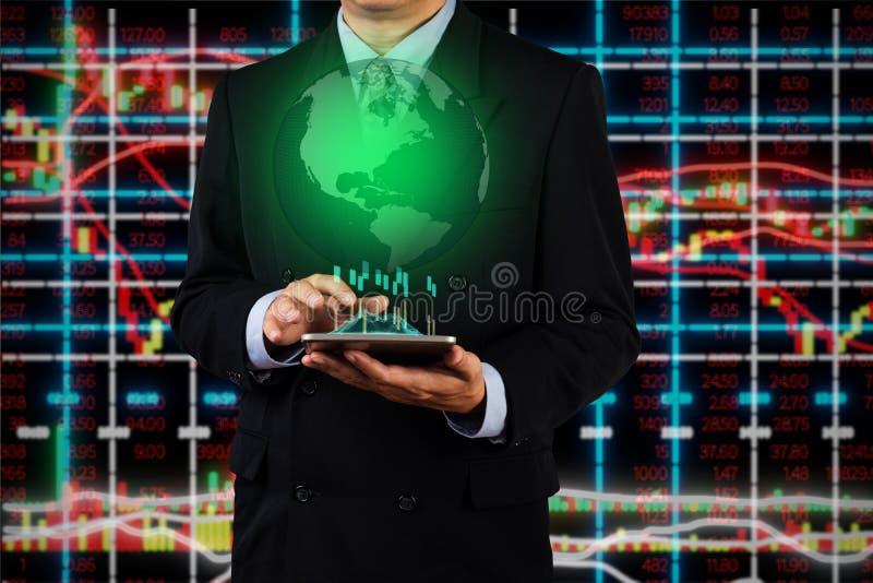 商人用途数字要分析地球地球虚拟现实的片剂设备 库存图片