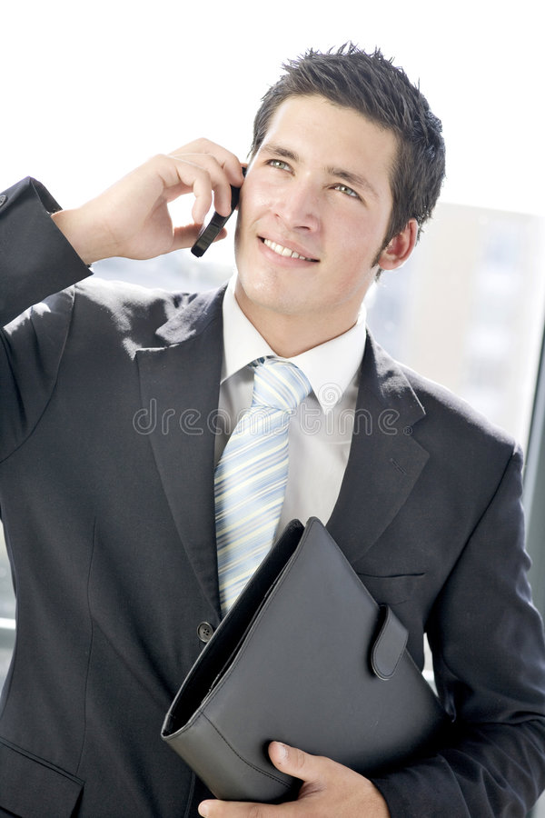 商人电话年轻人 免版税图库摄影