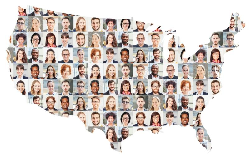 商人画象拼贴画美国的映射 免版税库存图片