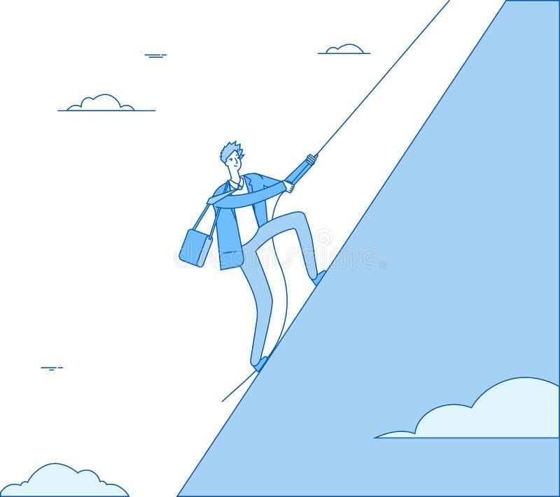 商人登山 与绳索攀登的领导在峰顶 财务赢利,成功的人领导事务 向量例证