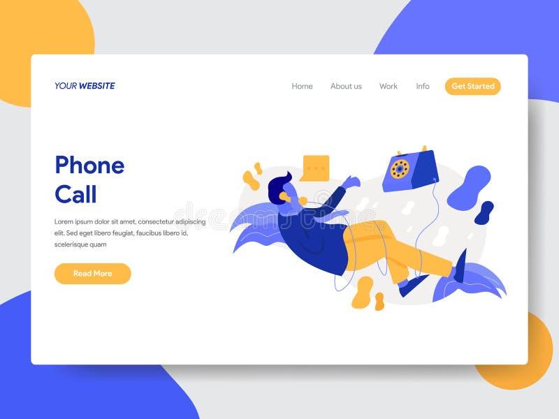 商人登陆的页模板在电话例证概念的 网页设计的现代平的设计观念网站的 向量例证